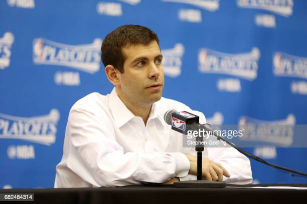 Brad Stevens of the Boston Celtics talks with the press after the game against the Washington Wizards during Game Six of the Eastern Conference...