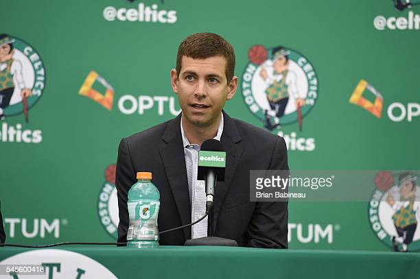 Brad Stevens welcomes Al Horford as the newest member of the Boston Celtics on July 8 2016 at the Boston Celtics Practice Facility in Waltham...