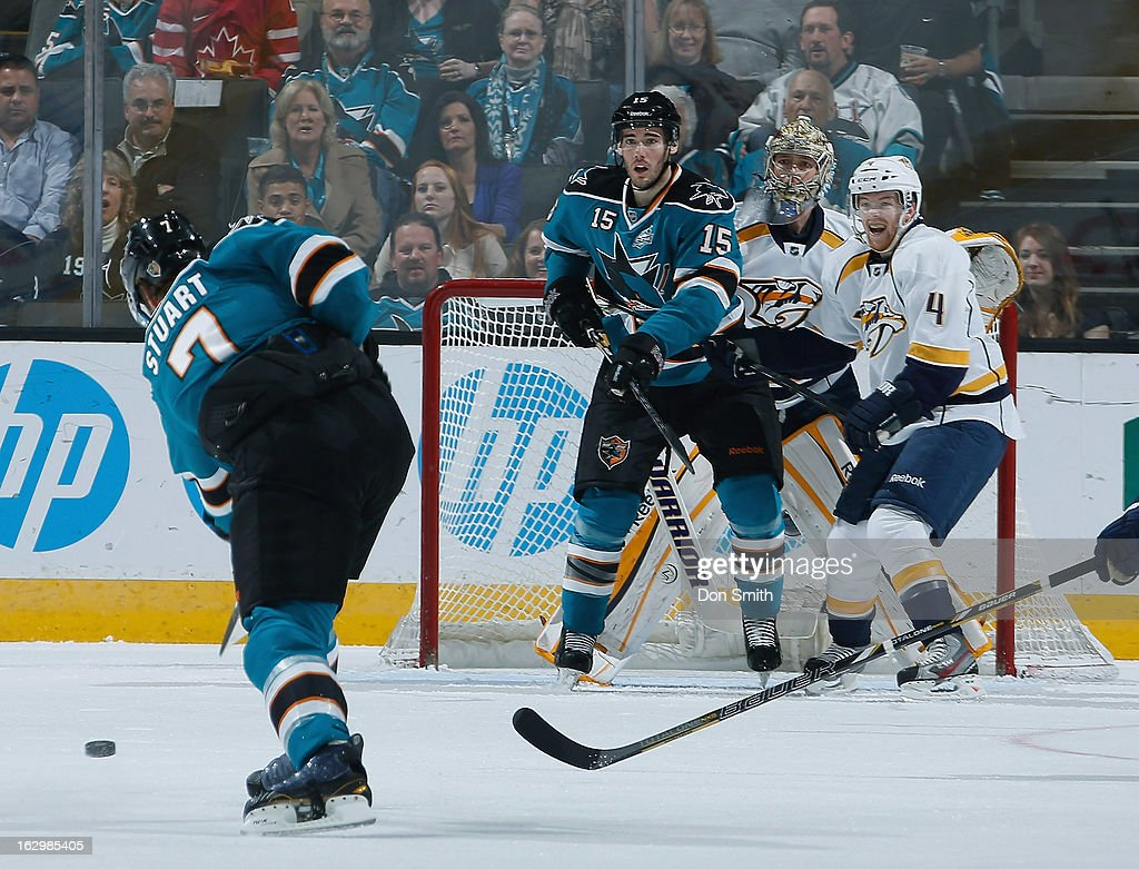 <a gi-track='captionPersonalityLinkClicked' href=/galleries/search?phrase=Brad+Stuart+-+Ice+Hockey+Player&family=editorial&specificpeople=213995 ng-click='$event.stopPropagation()'>Brad Stuart</a> #7 and <a gi-track='captionPersonalityLinkClicked' href=/galleries/search?phrase=James+Sheppard&family=editorial&specificpeople=537966 ng-click='$event.stopPropagation()'>James Sheppard</a> #15 of the San Jose Sharks try to score against <a gi-track='captionPersonalityLinkClicked' href=/galleries/search?phrase=Pekka+Rinne&family=editorial&specificpeople=2118342 ng-click='$event.stopPropagation()'>Pekka Rinne</a> #35 and <a gi-track='captionPersonalityLinkClicked' href=/galleries/search?phrase=Ryan+Ellis+-+Ice+Hockey+Player&family=editorial&specificpeople=15459795 ng-click='$event.stopPropagation()'>Ryan Ellis</a> #4 of the Nashville Predators during an NHL game on March 2, 2013 at HP Pavilion in San Jose, California.