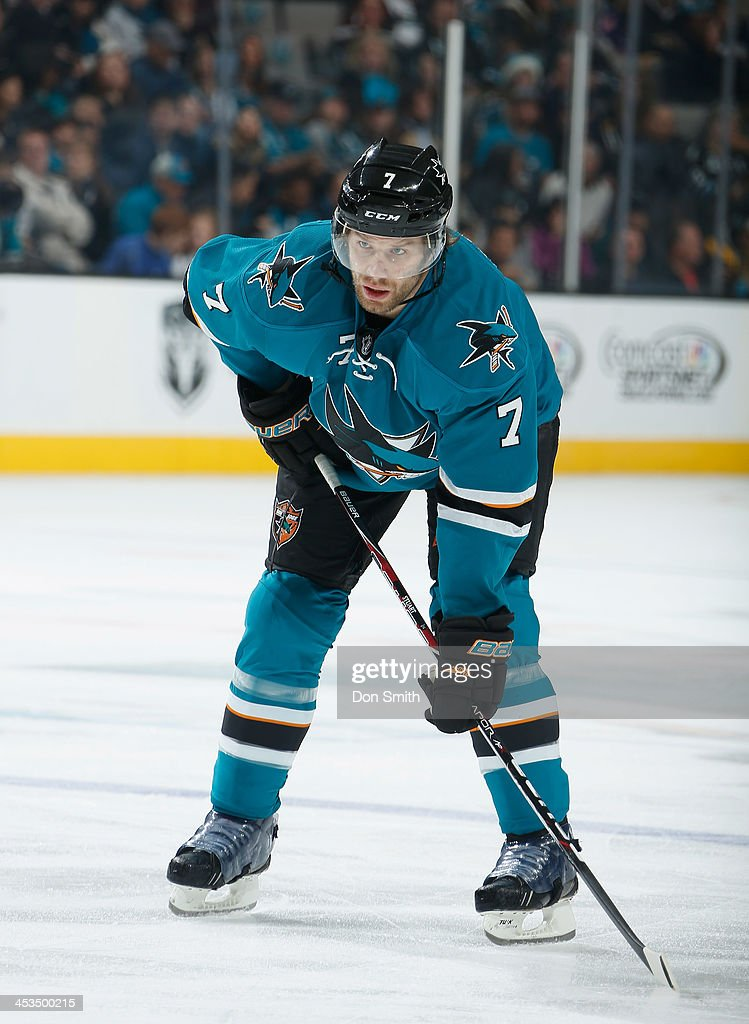 <a gi-track='captionPersonalityLinkClicked' href=/galleries/search?phrase=Brad+Stuart+-+Ice+Hockey+Player&family=editorial&specificpeople=213995 ng-click='$event.stopPropagation()'>Brad Stuart</a> #7 of the San Jose Sharks awaits a face-off against the Los Angeles Kings during an NHL game on November 27, 2013 at SAP Center in San Jose, California.