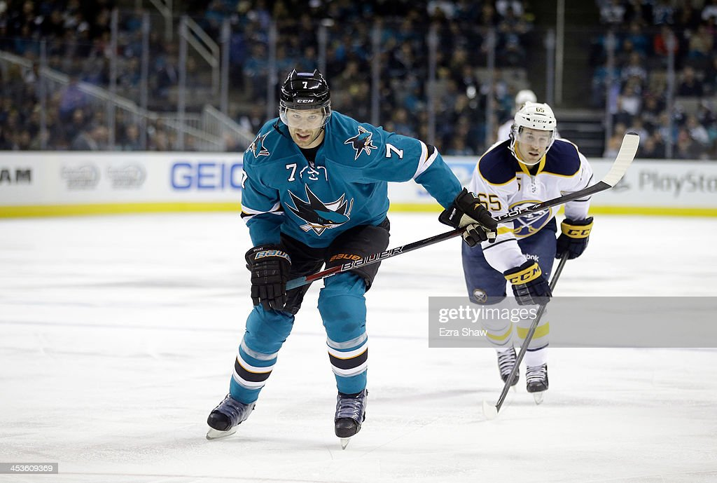 <a gi-track='captionPersonalityLinkClicked' href=/galleries/search?phrase=Brad+Stuart+-+Ice+Hockey+Player&family=editorial&specificpeople=213995 ng-click='$event.stopPropagation()'>Brad Stuart</a> #7 of the San Jose Sharks in action against the Buffalo Sabres at SAP Center on November 5, 2013 in San Jose, California.