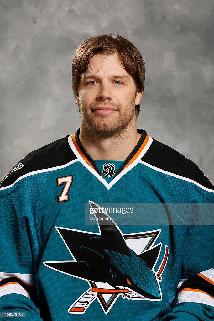 Brad Stuart #7 of the San Jose Sharks poses for his official headshot for the 2012-13 season on January 13, 2013 at Sharks Ice in San Jose, California.