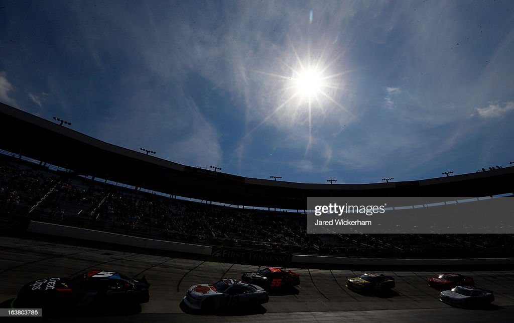 Brad Sweet, driver of the #5 Great Clips Chevrolet, leads a group of cars during the NASCAR Nationwide Series Jeff Foxworthy's Grit Chips 300 at Bristol Motor Speedway on March 16, 2013 in Bristol, Tennessee.