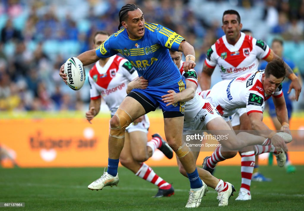 Brad Takairangi of the Eels looks to offload during the round 15 NRL match between the Parramatta Eels and the St George Illawarra Dragons at ANZ Stadium on June 18, 2017 in Sydney, Australia.