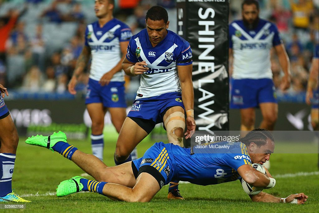 Brad Takairangi of the Eels scores a try during the round nine NRL match between the Parramatta Eels and the Canterbury Bulldogs at ANZ Stadium on April 29, 2016 in Sydney, Australia.