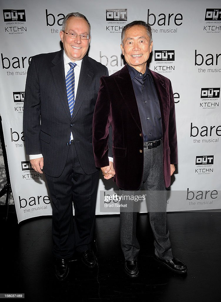 Brad Takei and George Takei attend 'BARE The Musical' Opening Night at New World Stages on December 9, 2012 in New York City.