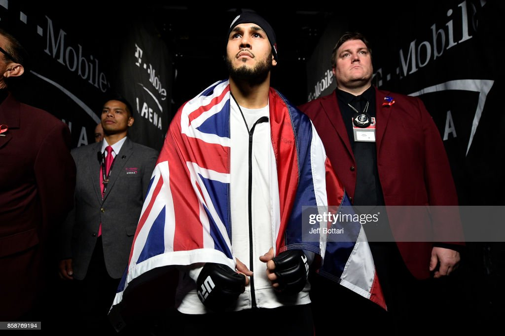 Brad Tavares prepares to enter the Octagon prior to his middleweight bout against Thales Leites of Brazil during the UFC 216 event inside T-Mobile Arena on October 7, 2017 in Las Vegas, Nevada.