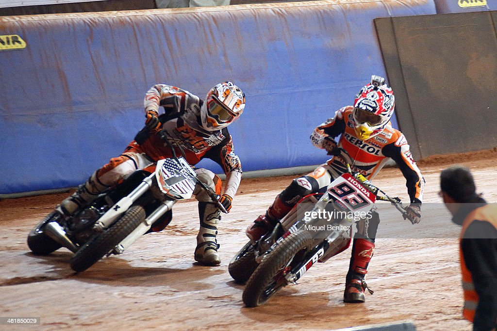 Brad 'The Bullet' Baker and <a gi-track='captionPersonalityLinkClicked' href=/galleries/search?phrase=Marc+Marquez&family=editorial&specificpeople=5409395 ng-click='$event.stopPropagation()'>Marc Marquez</a> round the bend during the Superprestigio Dirt Track Race at the Palau of Sant Jordi on January 11, 2014 in Barcelona, Spain.