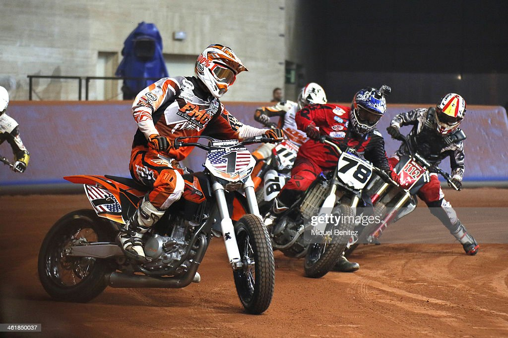 Brad 'The Bullet' Baker rounds the bend during the Superprestigio Dirt Track Race at the Palau of Sant Jordi on January 11, 2014 in Barcelona, Spain.