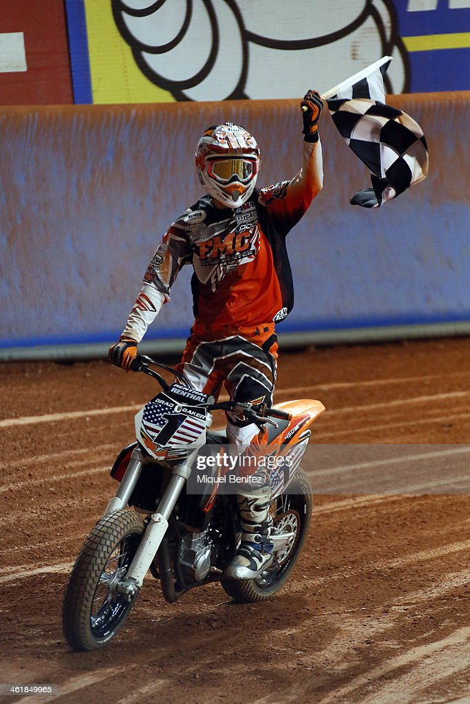 Brad 'The Bullet' Baker winning the Superprestigio Dirt Track Race at the Palau of Sant Jordi on January 11, 2014 in Barcelona, Spain.