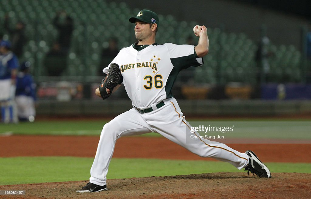 Brad Thomas of Australia pitches in the seventh inning during the World Baseball Classic First Round Group B match between South Korea and Australia at Intercontinental Baseball Stadium on March 4, 2013 in Taichung, Taiwan.