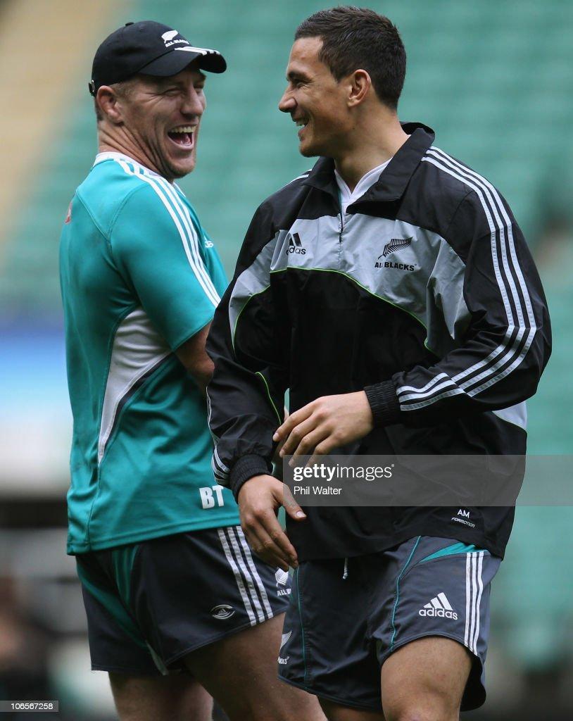 Brad Thorn and Sonny Bill Williams of the All Blacks joke around during the New Zealand All Blacks Captains Run at Twickenham Stadium on November 5...