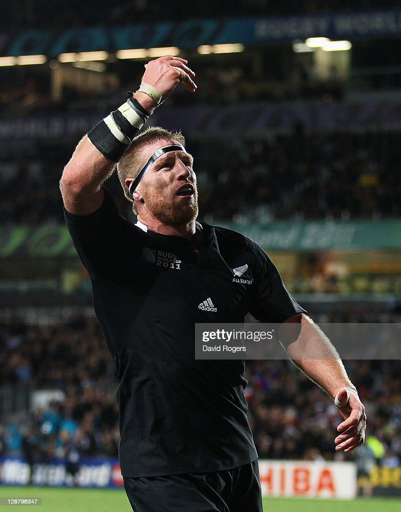 Brad Thorn of the All Blacks celebrates his try during quarter final four of the 2011 IRB Rugby World Cup between New Zealand and Argentina at Eden...