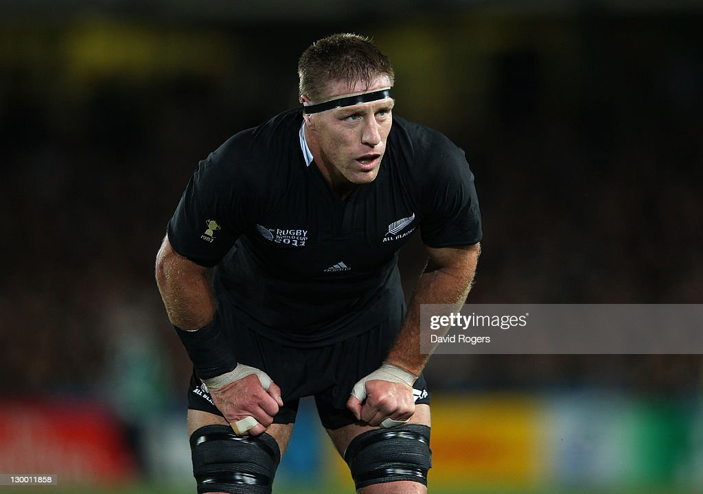 Brad Thorn of the All Blacks looks on during the 2011 IRB Rugby World Cup Final match between France and New Zealand at Eden Park on October 23 2011...