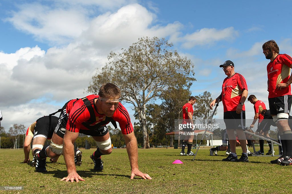 Brad Thorn of the All Blacks practices scrum technique during a New Zealand All Blacks training session at Church Grammar School on August 24 2011 in...