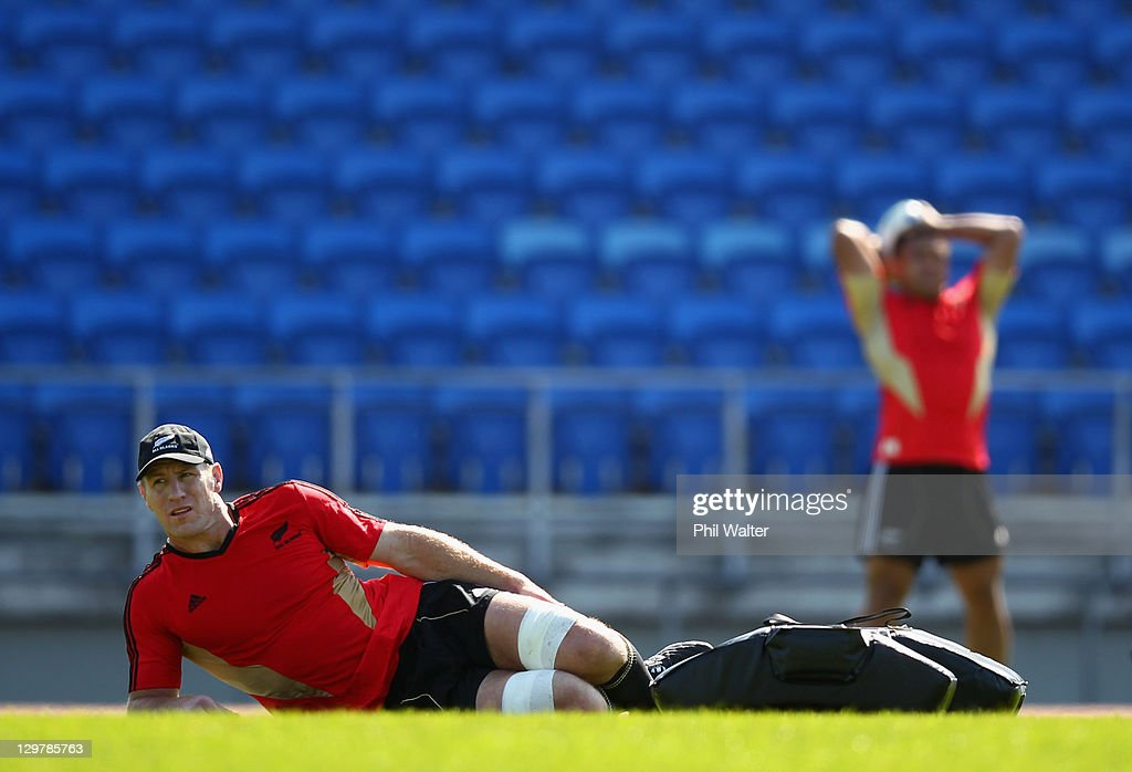 Brad Thorn of the All Blacks relaxes during a New Zealand All Blacks training session at Trusts Stadium on October 21 2011 in Auckland New Zealand