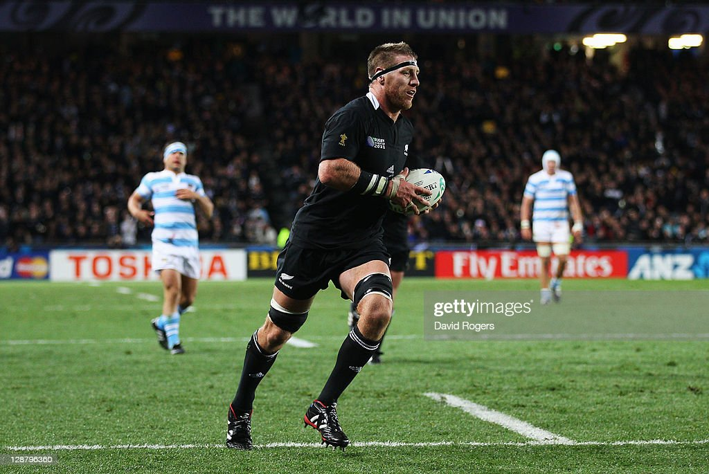 Brad Thorn of the All Blacks runs in his try during quarter final four of the 2011 IRB Rugby World Cup between New Zealand and Argentina at Eden Park...