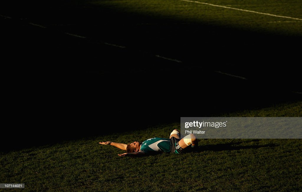 Brad Thorn of the All Blacks warms up during a New Zealand All Blacks Training Session at Cardiff Arms Park on November 25 2010 in Cardiff Wales