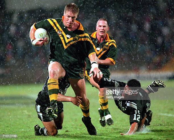 Brad Thorn of the Kangaroos breaks through the Kiwis defence during the rugby league 2nd Test between the Australian Kangaroos and the New Zealand...