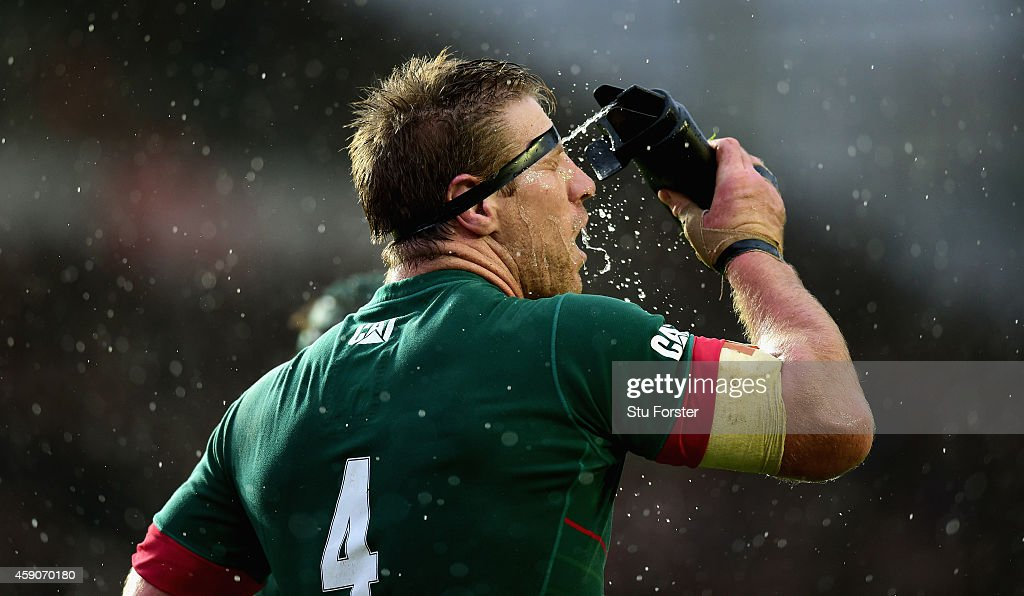 Brad Thorn of the Tigers cools down in the rain during the Aviva Premiership match between Leicester Tigers and Saracens at Welford Road on November...