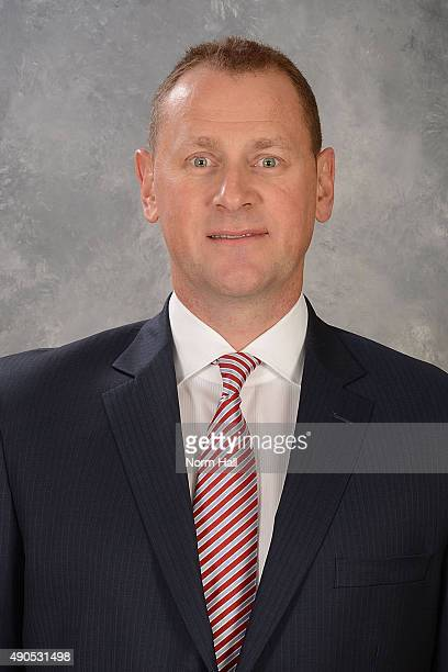 Brad Treliving General Manger of the Calgary Flames poses for his official headshot on September 12 2013 at Jobingcom Arena in Glendale Arizona