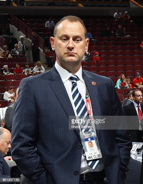 Brad Treliving of the Calgary Flames attends the 2017 NHL Draft at the United Center on June 24 2017 in Chicago Illinois