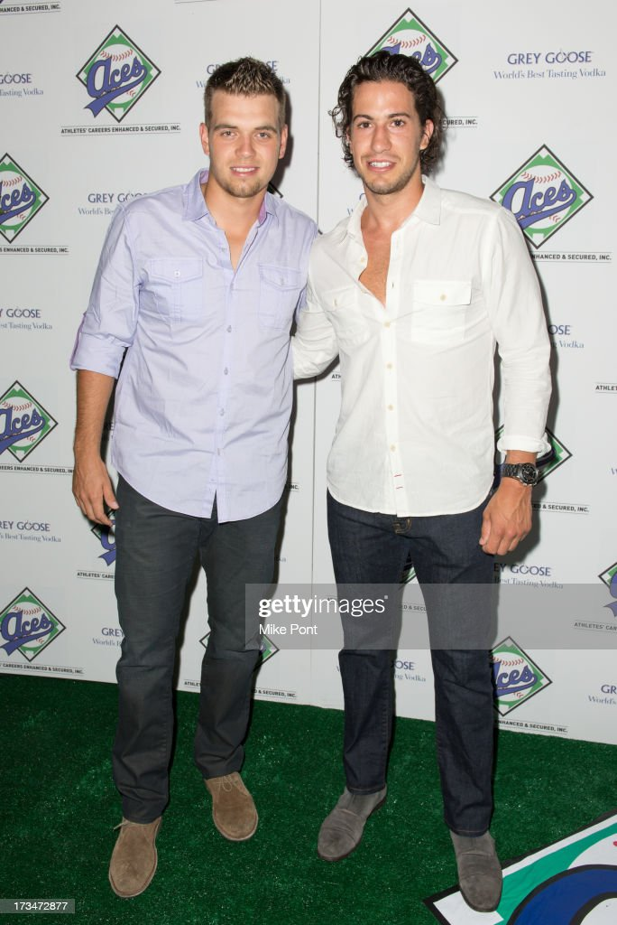 Brad Valliquett and New York Rangers <a gi-track='captionPersonalityLinkClicked' href=/galleries/search?phrase=Michael+Del+Zotto&family=editorial&specificpeople=4044191 ng-click='$event.stopPropagation()'>Michael Del Zotto</a> attend the ACES Annual All Star Party at Marquee on July 14, 2013 in New York City.