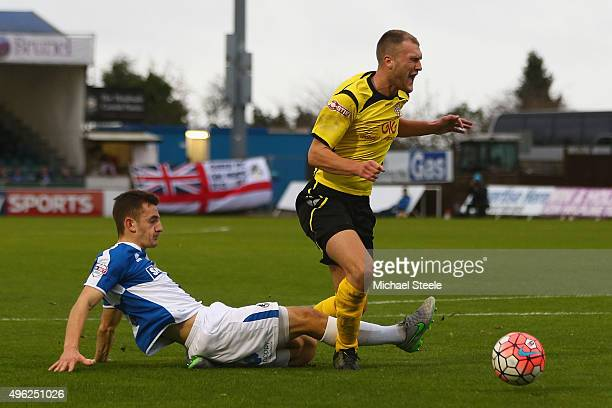Brad Wadkins of Chesham United is fouled by Tom Lockyer of Bristol Rovers which lead to a missed penalty during the Emirates FA Cup first round match...