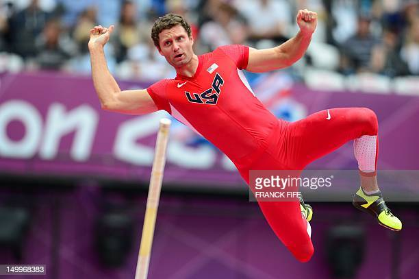 US' Brad Walker competes in the men's pole vault qualifications at the athletics event of the London 2012 Olympic Games on August 8 2012 in London...