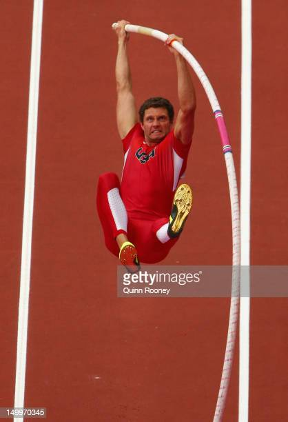 Brad Walker of the United States competes in the Men's Pole Vault Qualifications on Day 12 of the London 2012 Olympic Games at Olympic Stadium on...