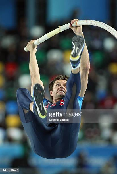 Brad Walker of the United States competes in the Men's Pole Vault Final during day two of the 14th IAAF World Indoor Championships at the Atakoy...