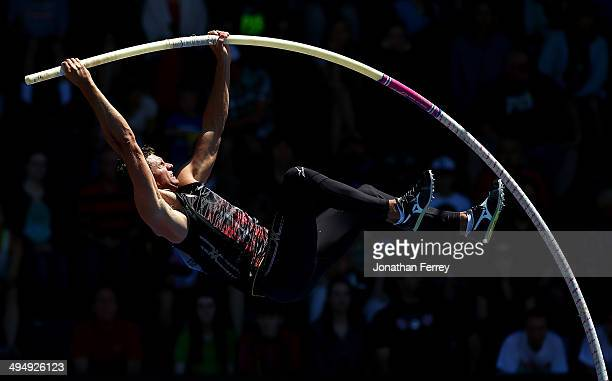 Brad Walker of the United States competes in the pole vault during day 2 of the IAAF Diamond League Nike Prefontaine Classic on May 31 2014 at the...