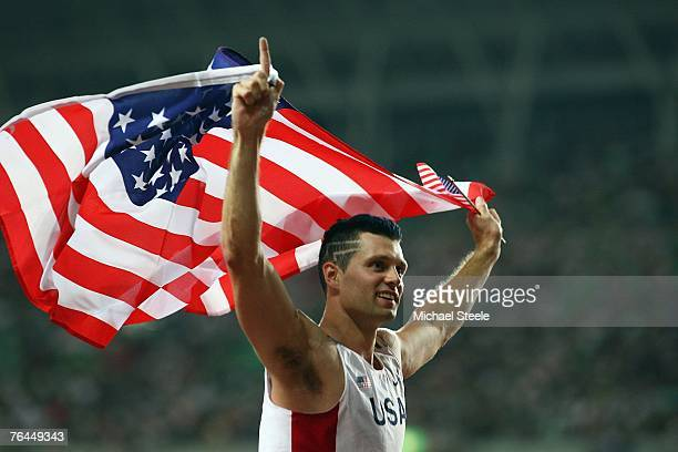 Brad Walker of the United States of America celebrates winning the Men's Pole Vault Final on day eight of the 11th IAAF World Athletics Championships...