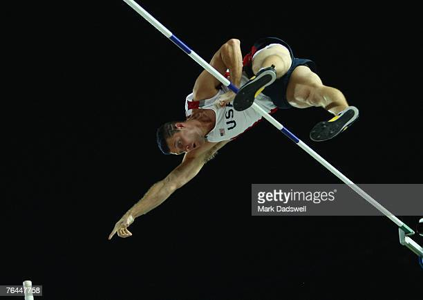 Brad Walker of the United States of America competes in the Men's Pole Vault Final on day eight of the 11th IAAF World Athletics Championships on...