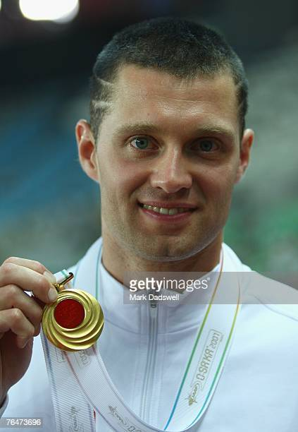 Brad Walker of the United States of America receives his gold medal for winning the Men's Pole Vault Final on day nine of the 11th IAAF World...