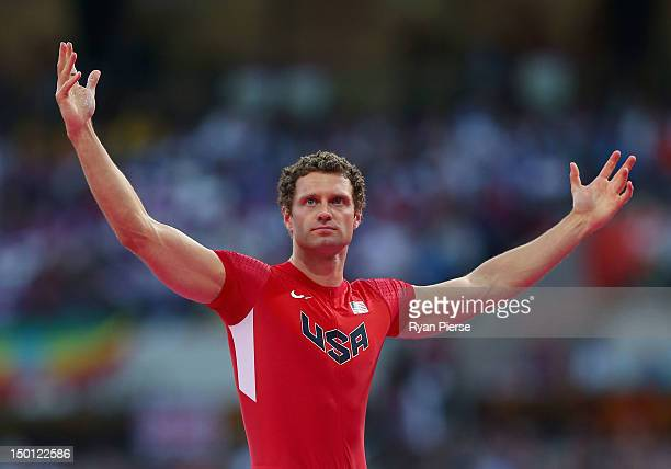 Brad Walker of the United States reacts during the Men's Pole Vault Final on Day 14 of the London 2012 Olympic Games at Olympic Stadium on August 10...