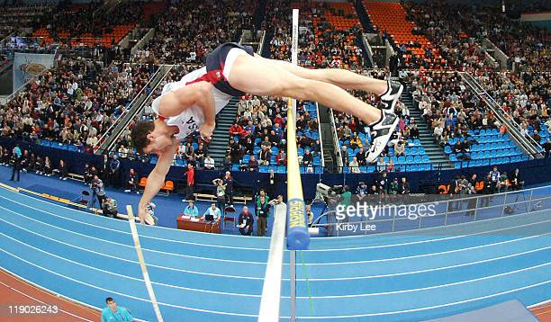 Brad Walker of the United States won the pole vault at 190 1/2 in the IAAF World Indoor Championships in Athletics at the Olympiyski Sports Complex...