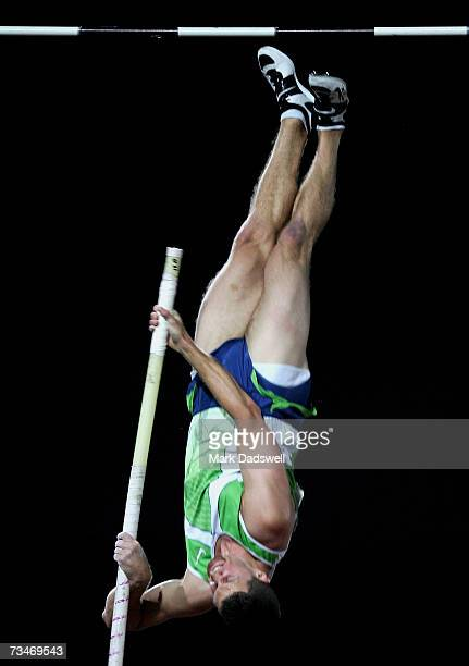Brad Walker of the USA competes in the Men's Pole Vault during the Telstra ASeries IAAF World Athletics Tour at Olympic Park on March 2 2007 in...