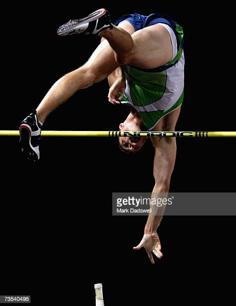 Brad Walker of the USA competes in the Mens Pole Vault Open during day two of the Australian Athletics Championships and selection trials at...