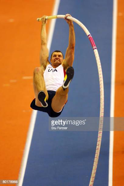 Brad Walker of USA competes in the Mens Pole Vault Final during the 12th IAAF World Indoor Championships at the Palau Lluis Puig on March 9 2008 in...