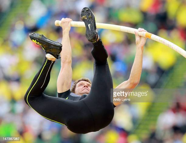 Brad Walker vaults his way to victory in the Men's Pole Vault on day seven of the 2012 US Olympic Track and Field Team Trials at Hayward Field on...
