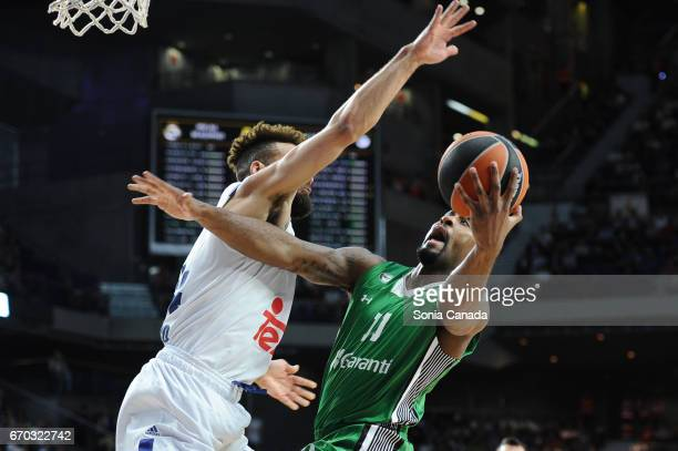 Brad Wanamaker #11 guard of Darussafaka Dogus Istanbul and Jeffery Taylor #44 forward of Real Madrid during the 2016/2017 Turkish Airlines Euroleague...