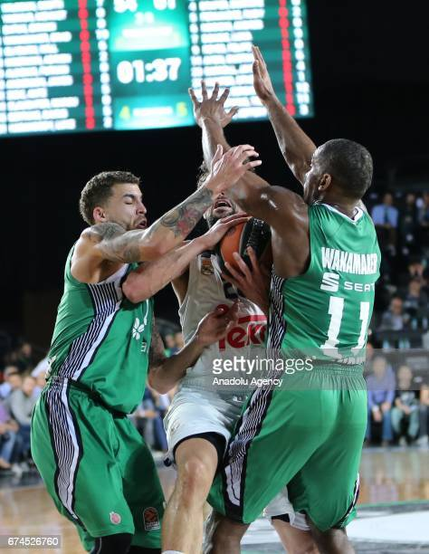 Brad Wanamaker and Scottie Wilbekin of Darussafaka Dogus in action against Sergio Llull of Real Madrid during the Turkish Airlines EuroLeague...