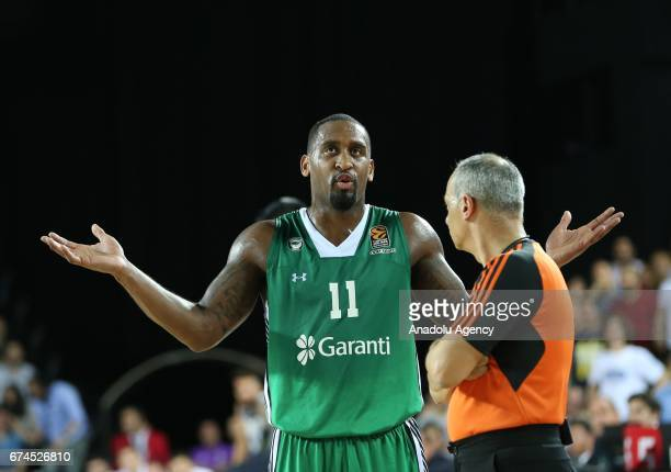 Brad Wanamaker of Darussafaka Dogus reacts during the Turkish Airlines EuroLeague Playoffs Game 4 between Darussafaka Dogus and Real Madrid at...