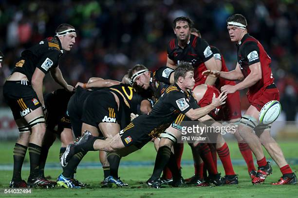 Brad Weber of the Chiefs clears the ball during the round 15 Super Rugby match between the Chiefs and the Crusaders at ANZ Stadium on July 1 2016 in...