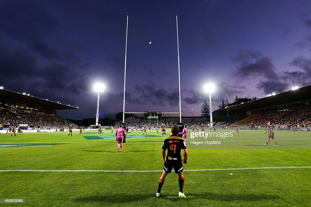 Brad Weber of the Chiefs watches as a Brumbies kick sails through the posts during the round two Super Rugby match between the Chiefs and the...
