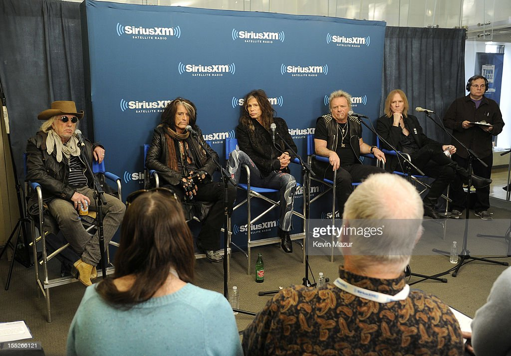 Brad Whitford Joe Perry Steven Tyler Joey Kramer and Tom Hamilton attend 'SiriusXM's Town Hall With Aerosmith' live on Classic Vinyl at SiriusXM...