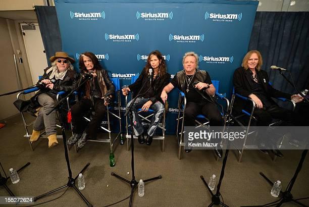Brad Whitford Joe Perry Steven Tyler Joey Kramer and Tom Hamilton attend 'SiriusXM's Town Hall With Aerosmith' live on Classic Vinyl at SiriusXM...
