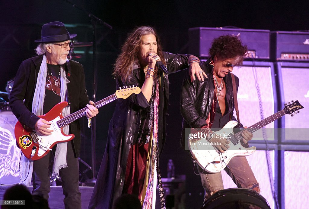 Brad Whitford, Steven Tyler, and Joe Perry of Aerosmith perform during the KAABOO Del Mar music festival on September 17, 2016 in Del Mar, California.