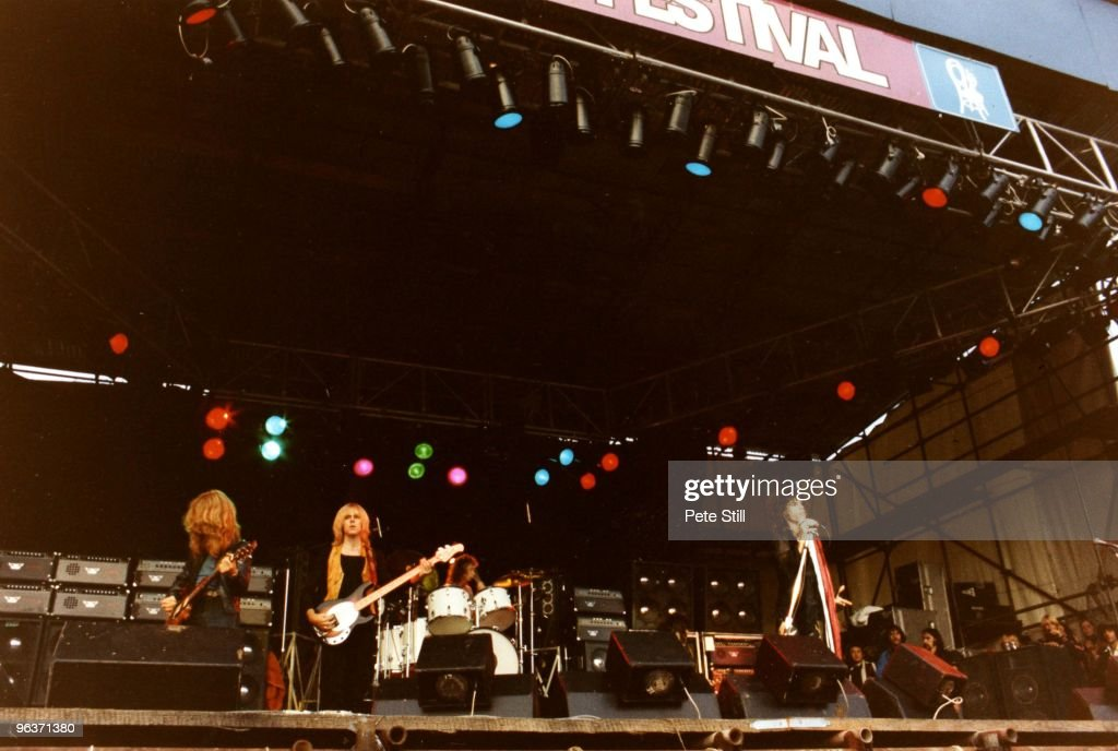 Brad Whitford Tom Hamilton Joey Kramer and Steven Tyler of Aerosmith perform on stage on Day 2 of The Reading Festival on August 27th 1977 in Reading...